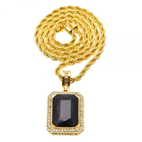 Men s Trendy Iced Out Hip Hop Pendant Necklace Jewelry Gold Color Red Big  Square Stone Pendant With Thick Rope Chain Necklace d01649ac1f82