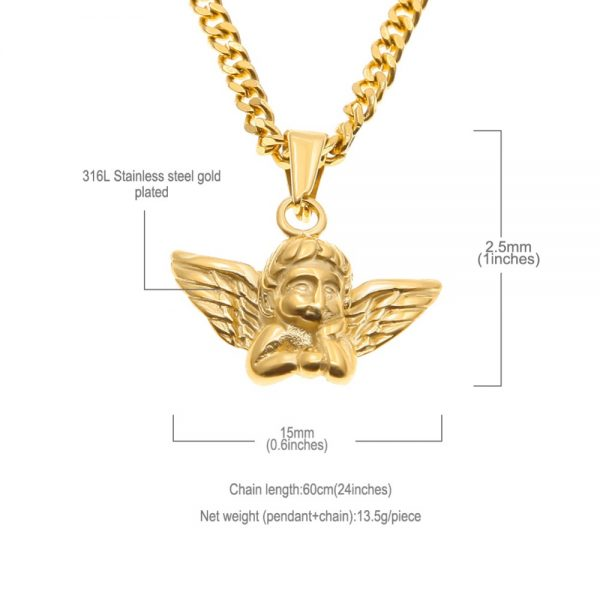 Tiny Angel Baby Necklace Charm Gold Color Cuban Chain Stainless Steel Fashion Jewelry Birthday Gifts Women Men Pendants Icy Swag