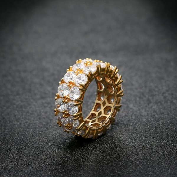Wedding Ring Women Men Full Iced Out Cubic Zirconia Rings Micro Pave 2 Row  Bling CZ Fashion Jewelry Valentine s Day Gift ed90cda5e845