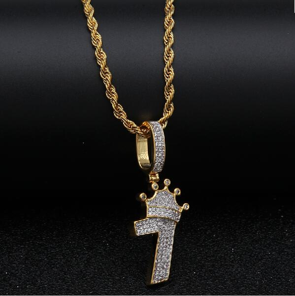 6abdfc03143a4 Bling Bling Number 7 With Crown Necklace For Men Full Iced Cubic Zircon  Charm Silver Gold Chain Pendant Hiphop Jewelry