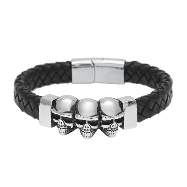 Fashion Mens Bracelets 2017 Stainless Steel Skeleton Skull Genuine Leather Braided Bracelet Punk Charm Wristband Jewelry