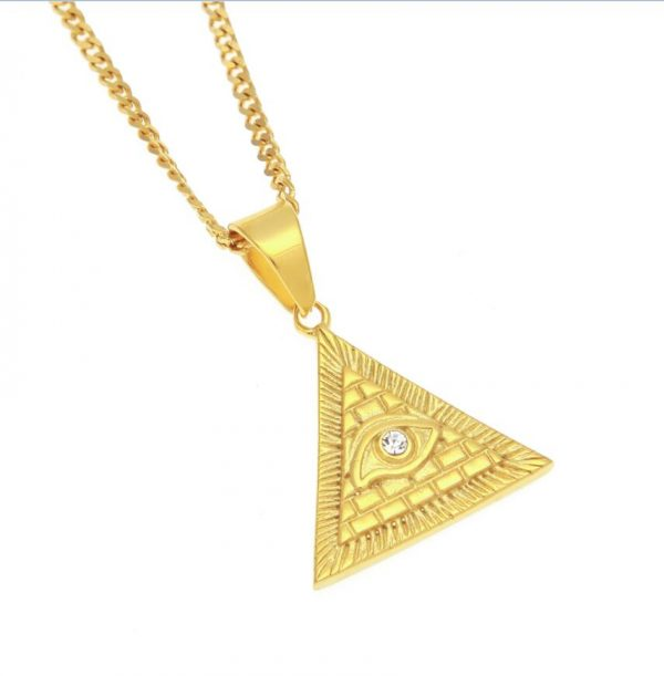 Fashion Hiphop Illuminati Pyramid Eye Of Horus Pendant Necklaces Stainless  Steel Vintage Egypt Gold Color Mens Cuban Chain