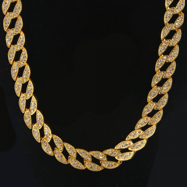 66766271371 Fashion Mens Full Iced Out Silver Gold Color Miami Cuban Hip Hop Link Chian  Bling Bling Necklace 30inch Hot Promotion Necklace