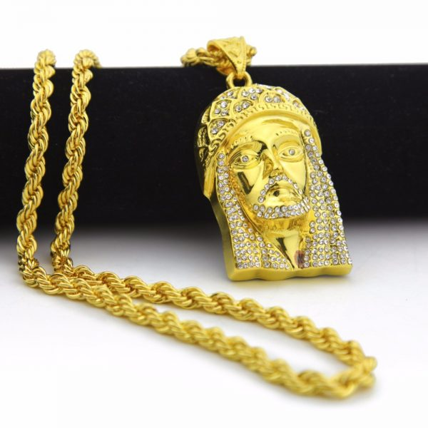 Gold Color Iced Out Jesus Piece Pendant Necklace For Men Women 30