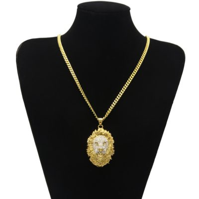 Cool Men s Gold Color Stainless Steel Lion Rhinestone Face Pendant With 5mm  Cuban Chain Necklace Hip Hop Jewelry Best Gift 057b90ec3cac