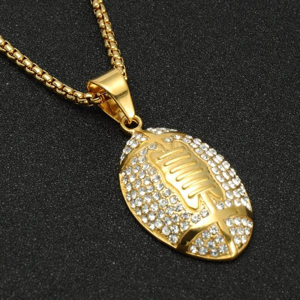Hip hop iced out gold stainless steel rugby football necklace full hip hop iced out gold stainless steel rugby aloadofball Gallery