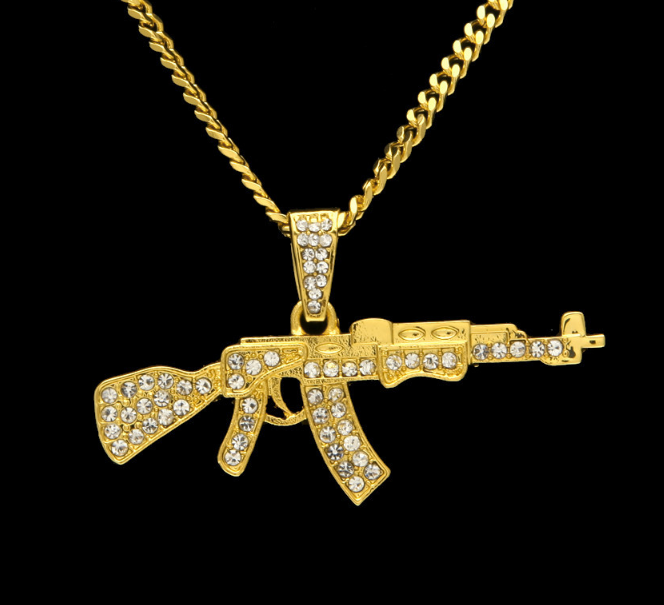 Men s Trendy Iced Out Hip Hop Pendant Necklace Jewelry Gold Color ... 061b962d943f