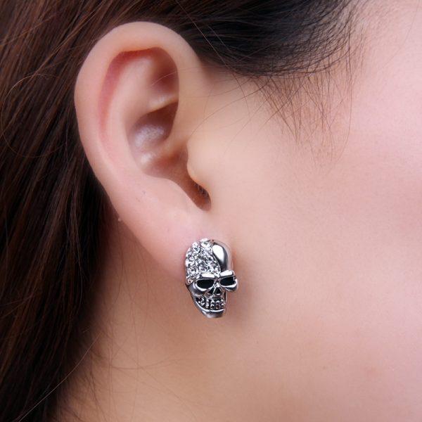 f4a9c172e Rock Skull Crystal Silver Tone Stud Earrings Earrings Hiphop Jewelry ...