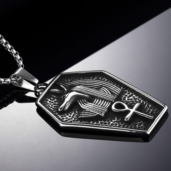 Anubis Stainless Steel Pendant Necklace Egyptian Symbol of Life Pendant