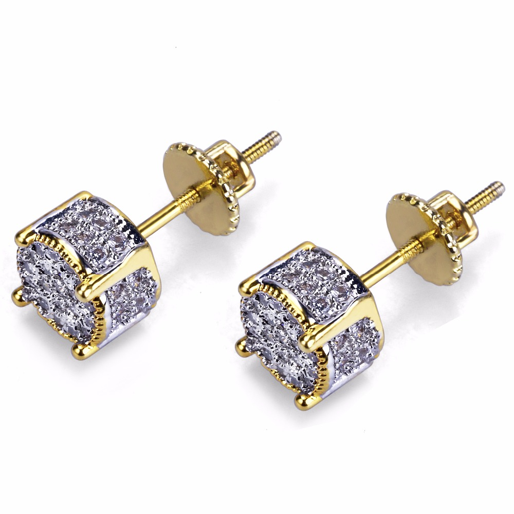 Hip Hop Earrings: Micro Pave CZ Stone Bling Ice Out Hip Hop Earring Copper